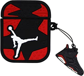 Airpod Case Compatible Full Protective Luxury Soft Rubber Premium Quality Silicone TPU 2109 Fashion Key Chain Air Jordan AJ6 Basketball Jersey Headphones Inspired (6-red)