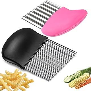 BITEFU 2 pcs Crinkle Cutter Multifonction en Acier Inoxydable Coupe Frite Ondule éminceur,pour Coupe Pommes deTerre, Légum...