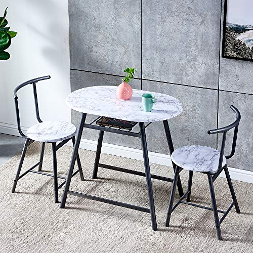 QIHANG-UK 3-Piece Small Dining Table Set for Indoor Outdoor, Wood Kitchen Table with 2 Dinner Chairs for Living Room Garden Backyard Tea-time, Marble Look Oval Dinette Set with Metal Legs, White