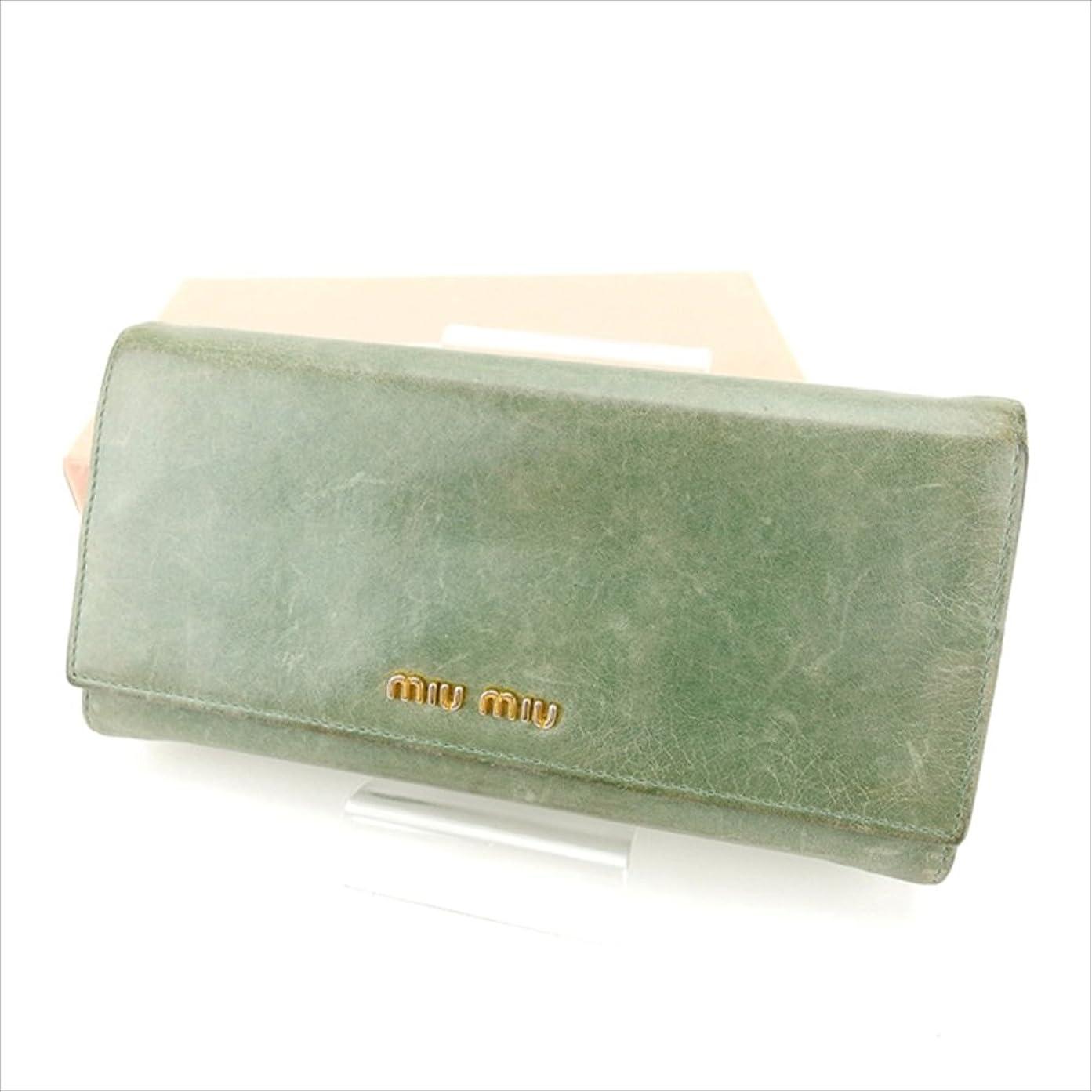 誰職業に沿って(ミュウミュウ) Miu Miu 長財布 ファスナー付き長財布 グリーン×ゴールド ロゴ レディース 中古 E1018