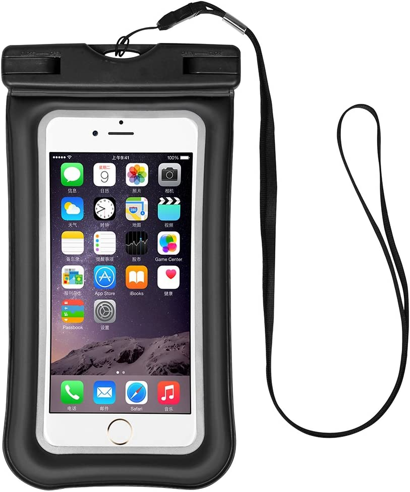 Workout Cellphone Waterproof Pouch Floatable Dry Bag Case for LG V40 ThinQ/G Vista/Stylo 4 / Stylo 4 Plus / G6 Plus / V20 / G7 ThinQ / V35 ThinQ / V30 / Samsung Galaxy S8 Plus / S9 Plus (Black)