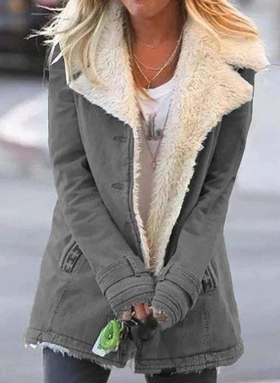 AlvaQ Damen Fashion Winter Revers Sherpa Fleece Gefüttert Denim Jacke Casual Langarm Warm Oberbekleidung Mantel Grau