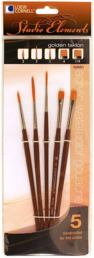 Loew-Cornell 1024921 Studio Elements Golden Taklon Short Handle Round/Liner/Shader Brush Set