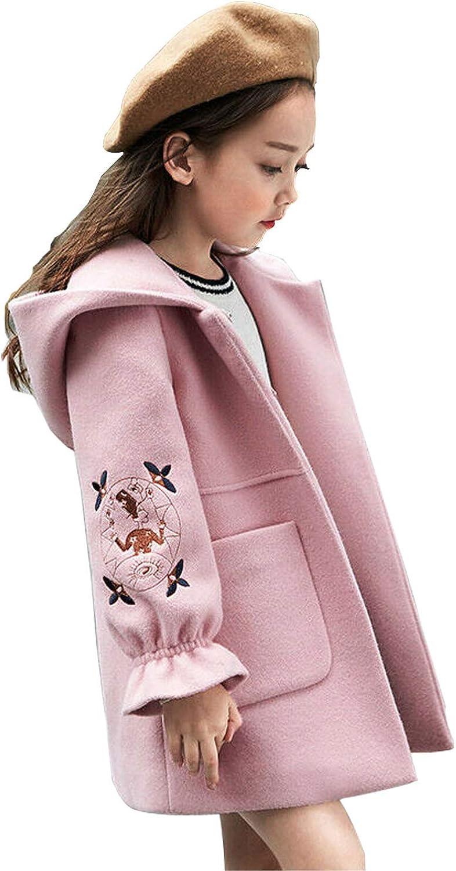 Agujat Autumn Winter Girls Woolen Coat Pink Red Flores Design Petal Sleeves Long Jacket for Kids Windbreaker for 3-12T