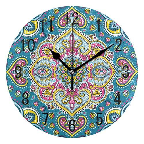 Use7 Wanduhr, indisches Paisleymuster, Mandala, rund, Acryl, Nicht tickend, geräuschlose Uhr, Kunst für Wohnzimmer, Küche, Schlafzimmer