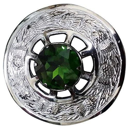 Scottish Kilt Fly Plaid Brosche Green Stein verchromt / Highland Celtic Pin Broschen