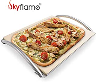 """Skyflame 14"""" x 16"""" Rectangle Ceramic Baking Pizza Stone with Metal Handle Rack Fits Most Charcoal Grills, Gas Grills, Pizza Oven, Pellet Grills, BGE, Kamado Grills, Smoker"""