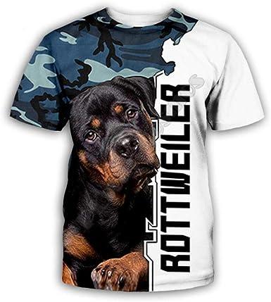 Impresión Digital 3D Animal Rottweiler Camiseta De Manga Corta Casual Graphic Tees Tops Moda