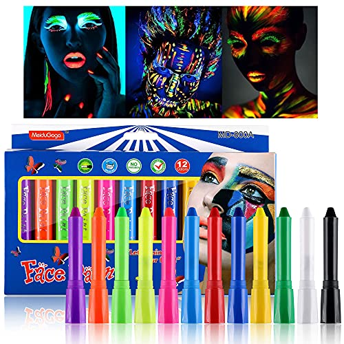 CCbeauty 12 Colors Luminous Face Paint Crayons UV Glow in The Dark Neon Face and Body Paint Sticks (6 pcs Glow and 6 pcs Normal) for Halloween Masquerades Makeup