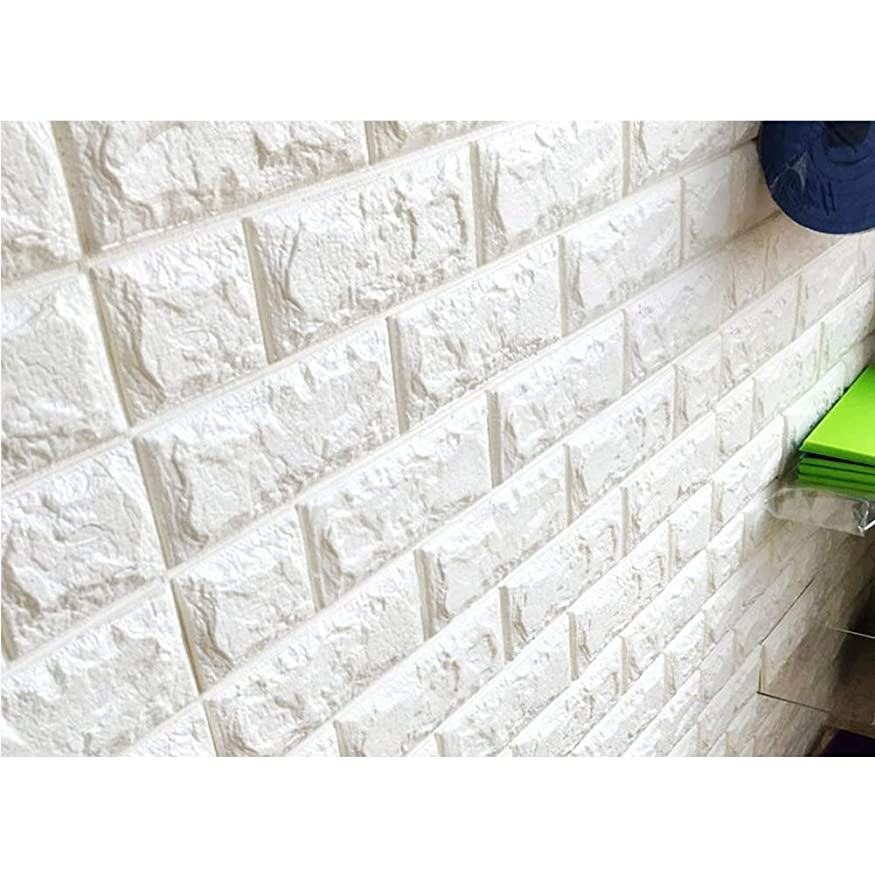 死傷者ロンドン驚いた壁紙 レンガ シール クッションブリック 大判 立体 リメイクシート 壁 DIY リフォーム 77×70cm (5枚)