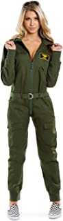 Tipsy Elves Women's Pilot Halloween Costume - Green Pilot Jumpsuit Adult Military Costume Female