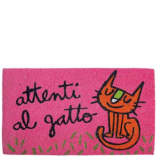 Preisvergleich Produktbild Laroom Fußmatte Design Attenti al Gatto,  Jute and Rutschfester Unterseite,  Pink,  40 x 70 x 1.8 cm