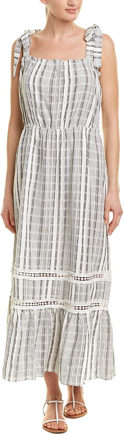 Vince Camuto Womens Ruffled Tie-Strap Maxi Dress