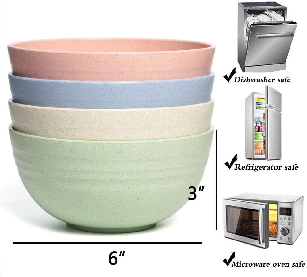 NAWOVAO Unbreakable Cereal Bowls, 24 OZ Wheat Straw Fiber Biodegradable Plastic Bowl Sets 4 for Children, Rice, Soup Bowls, Microwave Dishwasher Safe