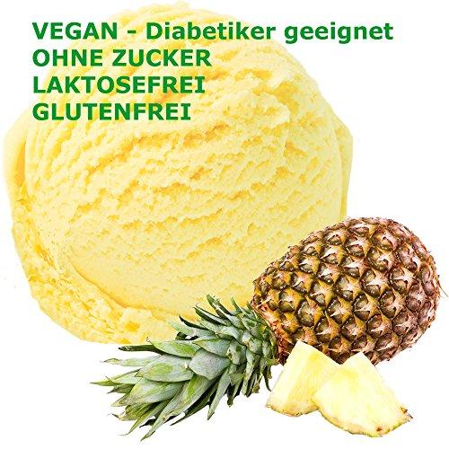 Ananas Geschmack Eispulver VEGAN - OHNE ZUCKER - LAKTOSEFREI - GLUTENFREI - FETTARM, auch für Diabetiker Milcheis Softeispulver Speiseeispulver Gino Gelati (Ananas, 1 kg)