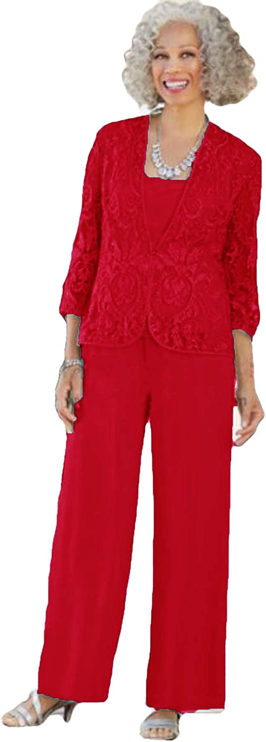 Xixi House Women's 2021 Elegant Mother of The Bride Pant Suits Dresses 3 PC Outfit for Wedding Guests Lace Jacket