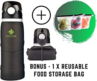 Explore Collapsible Water Bottle Leak Proof Sports and Travel Water Bottle – Bonus Resealable, Reusable Silicone Food Storage Bag - FDA Approved, BPA Free, Medical Grade Silicone Bottle - Large 25 oz