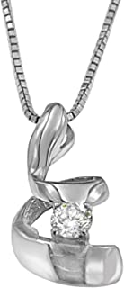Sterling Silver Round Cut Diamond Spiral Pendant Necklace (0.1 cttw, J-K Color, I2-I3 Clarity)