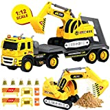 Flatbed Truck w/ Excavator Tractor - 1:12 Scale Large Size Toys - Push and Go Toy Trucks, Construction Trucks for Toddlers, Boys and Girls Ages 2 3 4 5, Realistic Friction Truck w/ Lights and Sounds
