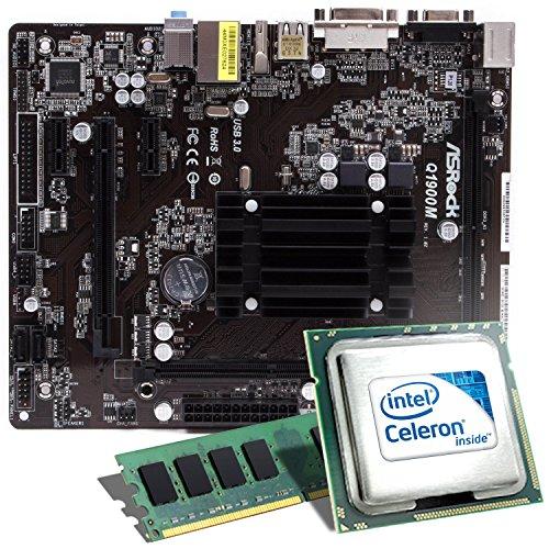 Intel Celeron J1900 / ASRock Q1900M Mainboard Bundle / 8192 MB | CSL PC Aufrüstkit | Intel Quad-Core J1900 4x 2000 MHz, 8 GB DDR3, Intel HD Graphics, GigLAN, 5.1 Sound, USB 3.1 | Aufrüstset | PC Tuning Kit