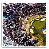 Impresionantes pegatinas cuadradas (juego de 2) 10 cm – Ocean Golf Course, Golf, Golf, Golf, Divertidas calcomanías para portátiles, tabletas, equipaje, reserva de chatarras, neveras, regalo genial #45900