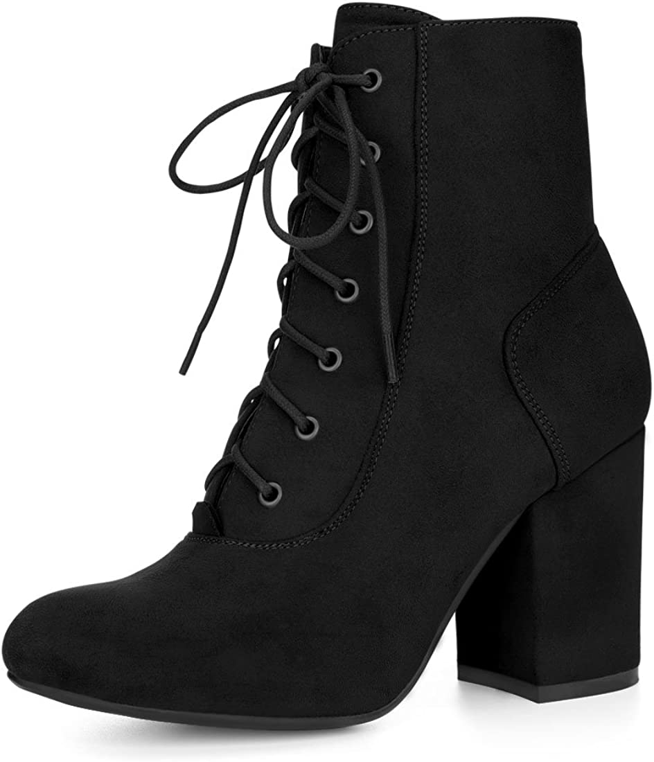 wholesale Allegra K Women's Lace Up Outlet SALE Heel Chunky Ankle Booties