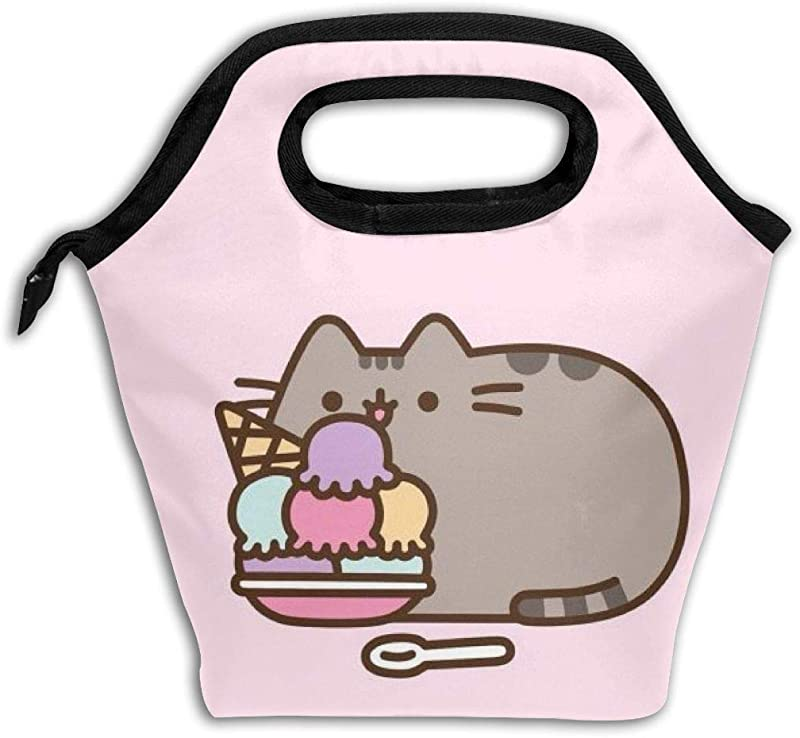 Ice Pack Lunch Bag Pu Sheen Cat Lunch Box Boys Girls Insulated Reusable Lunch Tote Picnic Bags For Adult Kids