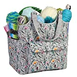 Everything Mary Yarn & Knitting Organizer Bag, Painted Floral- Craft Storage for Crochet & Needlework - Caddy for Crocheting & Crafts - Store Supplies, Needles, Hooks, Needles, & Accessories