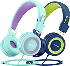 Mpow CH8 Kids Headphones with Microphone (2-Pack), Wired On-Ear Headsets with Safe Volume..