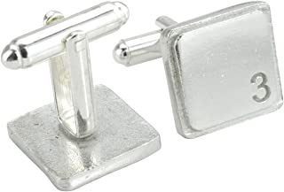 Square Cufflinks with '3' Engraved - 3rd Anniversary