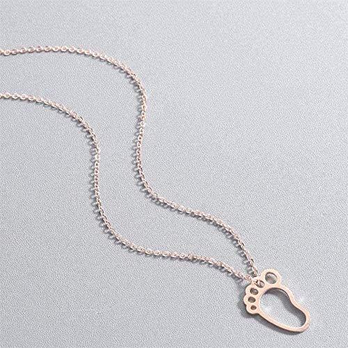 NC190 Collar Lindo bebé pie pies Collar mamá Accesorios de joyería Cadena de Oro Encantador Colgante Collar