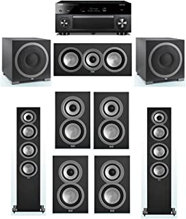 ELAC Uni-Fi 7.2 System with 2 ELAC UF5 Floorstanding Speakers, 1 ELAC UC5 Center Speaker, 4 ELAC UB5 Speaker, 2 ELAC Debut S12EQ Powered Subwoofer, 1 Yamaha RX-A3070 Receiver