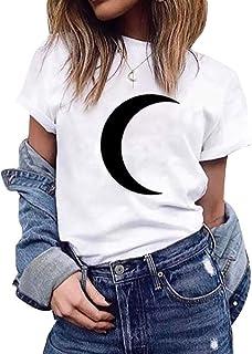 Camiseta Estampada de Luna de Manga Corta y Color Liso de Verano de Tallas Grandes para Mujer