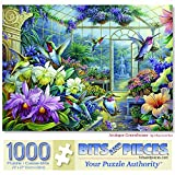 Bits and Pieces - 1000 Piece Jigsaw Puzzle for Adults 20' x 27' - Antique Greenhouse - 1000 pc Flower Garden Country Bird Fountain Jigsaw by Artist Oleg Gavrilov