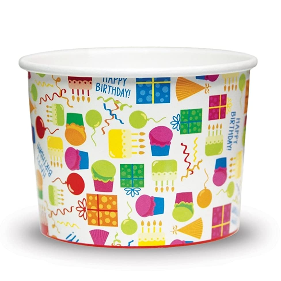 Birthday Party Paper Ice Cream Cups - 8 oz Cake Design Comes In Many Sizes! Fast Shipping - Frozen Dessert Supplies - 50 Count