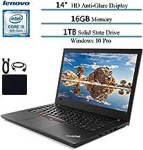 """2019 Lenovo Thinkpad T480 14 Inch Flagship Premium Business Laptop, Intel Quad-Core i5-8250U (>i7-7500U), 16GB RAM, 1TB SSD, Fingerprint, Bluetooth, Windows 10 Pro w/ HESVAP Accessories"""" width=""""200″ height=""""200″ /></td> <td><a href="""