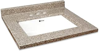 Transolid Charlotte2237-LWB Charlotte Cultured Marble 4-in Centerset Single-Bowl Vanity Top, 37-in X 22-in, Latte