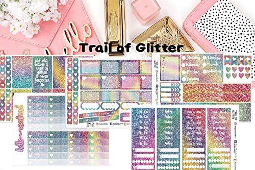 Trail of Glitter Sticker Kit 5 sheets on matte. Erin Condren Life Planner or Happy Planner Create 365 sizes available. Kiss cut, just peel and stick.