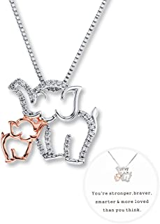 Elephant Charm Necklace for Women Mom and Baby Elephant Necklace Rose Gold and White Gold Design for Mom