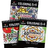 Lot de 3 Livres de Coloriage : Animaux, Mandalas, Fleurs - Livre de Coloriage Adulte ou Enfant à Spirales pour Loisirs Créatifs - Livre Coloriage Anti Stress - 120 Dessin de Haute Qualité à Colorier