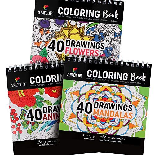 3 Libri da Colorare: Animali Fantastici Libri, Mandala da Colorare Adulti, Fiori - Libri da Colorare per Adulti o Bambini a Spirali - Libri da Colorare Antistress - 120 Disegni da Colorare con Numeri