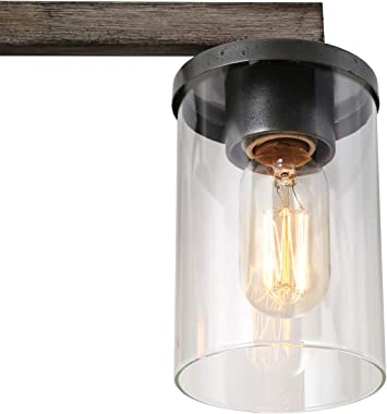 LALUZ Bathroom Vanity Light Fixtures, Farmhouse Vanity Lighting with Clear Glass Shades, Faux Wood, 4-Light, 28'' L x 6.3'' W