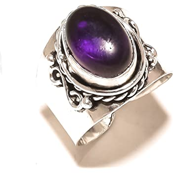 Awesome Sizable Purple Amethyst Quartz Sterling Silver Overlay 8 Grams Ring Size 9 US