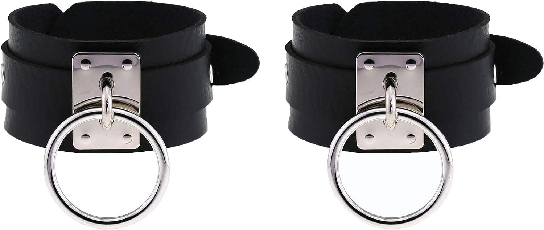 Shanleaf-Cat Men's Punk Leather Wristband 2 Pcs Women's Adjustable Gothic Rock Cuff Bracelet Wrap Bracelet