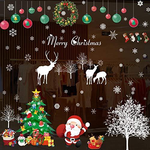 Pegatinas decorativas para puertas de Papá Noel con diseño de escena de cristal