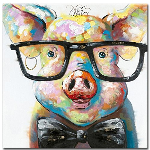 Muzagroo Art Cute Pig with Glasses Paintings for Living Room Hand Painted Paintings Stretched Ready to Hang(24x24in)