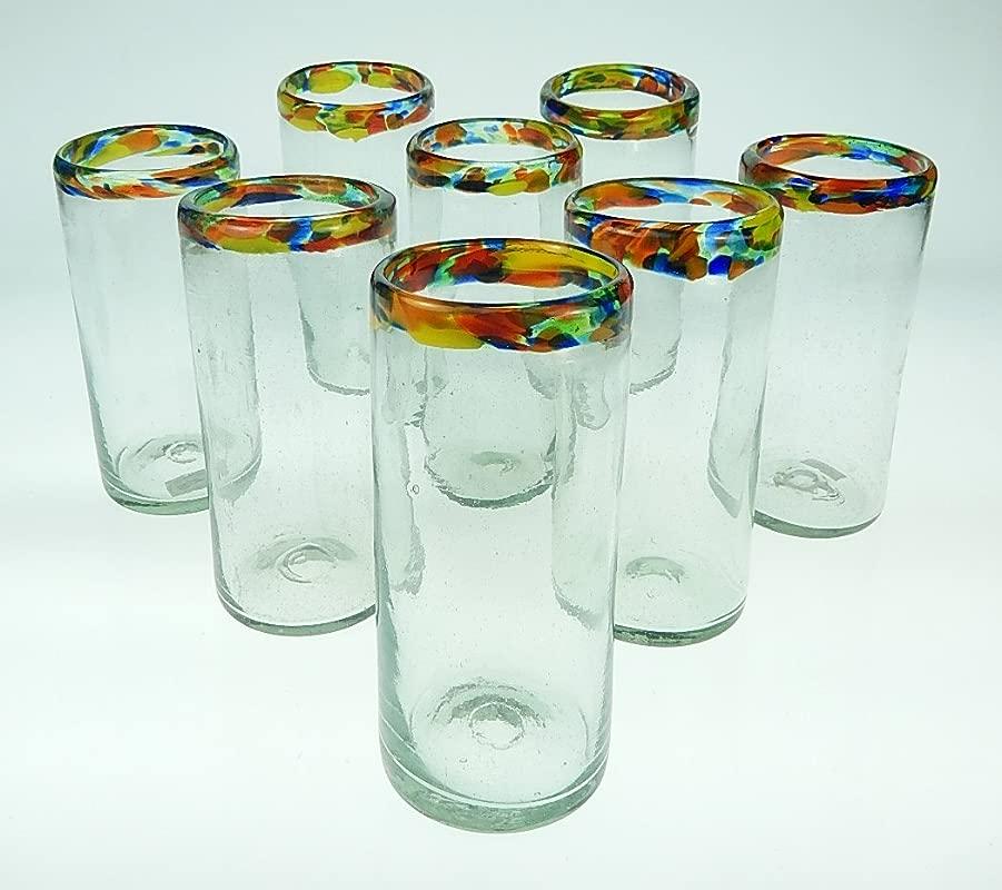 Mexican Glass Confetti Rim Tumblers 20 Oz 8