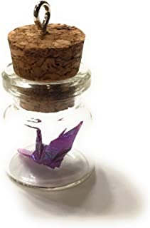 Mini Origami Crane in Bottle Charm/Ornament w/Hook and Gift Box - Perfect for Christmas Birthdays Anniversaries Favors Showers Children