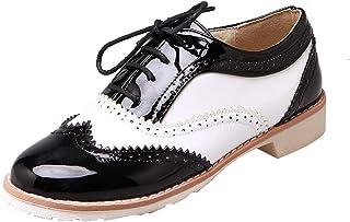 [KITTCATT] 靴 オックスフォード レディース ブローグシューズ エナメルシューズ 白黒 レースアップシューズ レディース ローヒール 歩きやすい靴 レディース