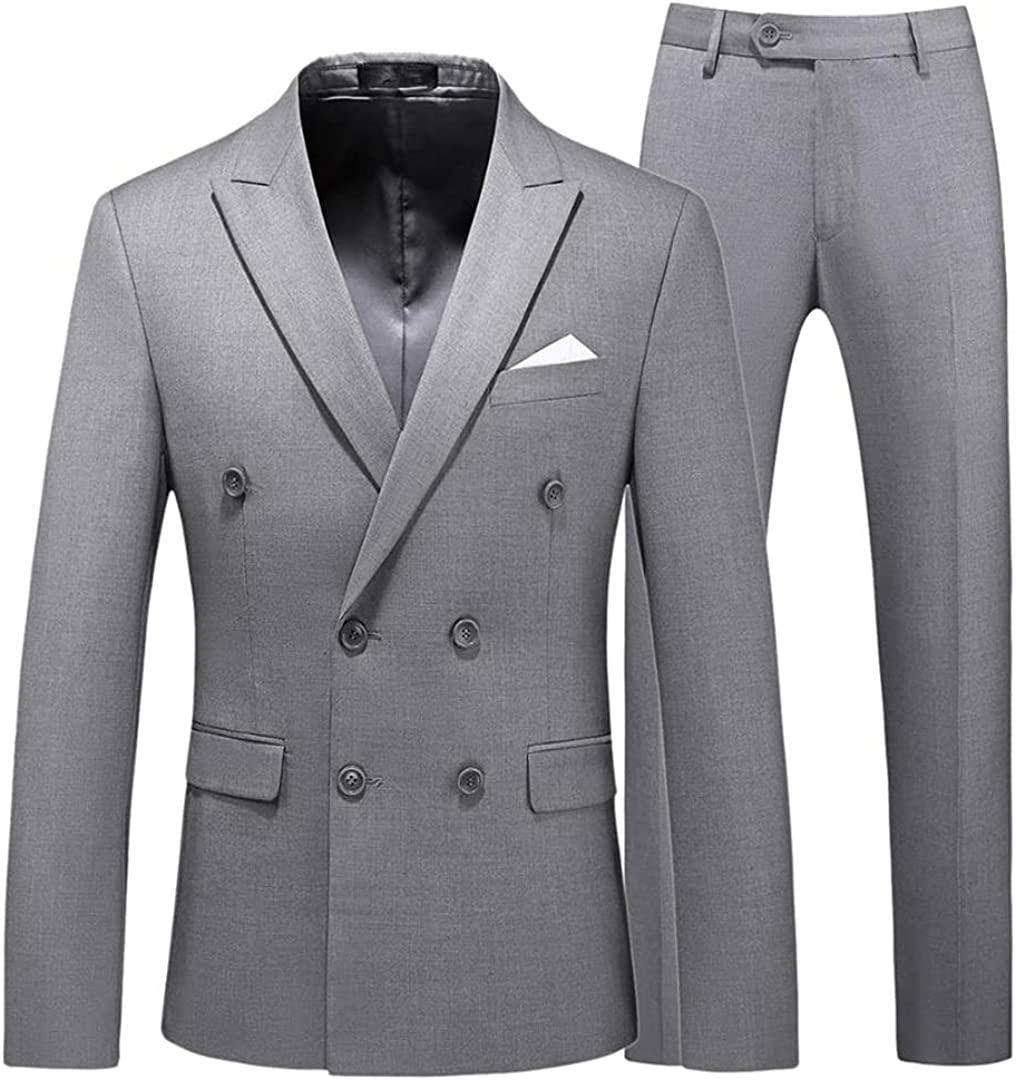 Renost Men Business Work Double Breasted Tuxedo Suit Slim Fit Casual Jacket with Pant
